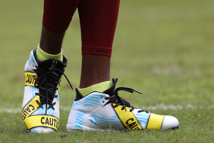 Football cleats of NFL wide receiver DeSean Jackson.