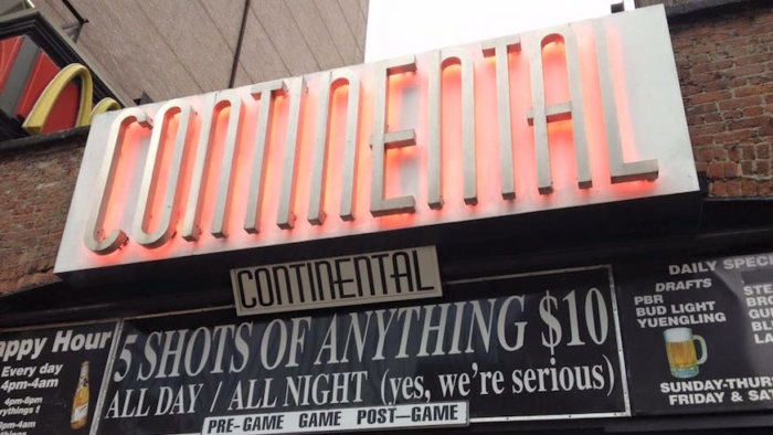 Continental Bar will close in August 2018. Credit: Lincy S., Yelp