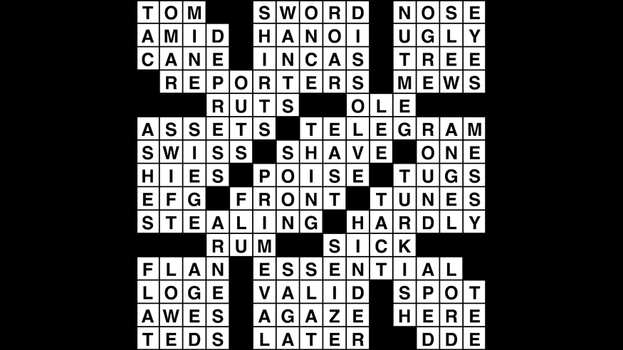 Crossword puzzle, Wander Words answers: February 12, 2019