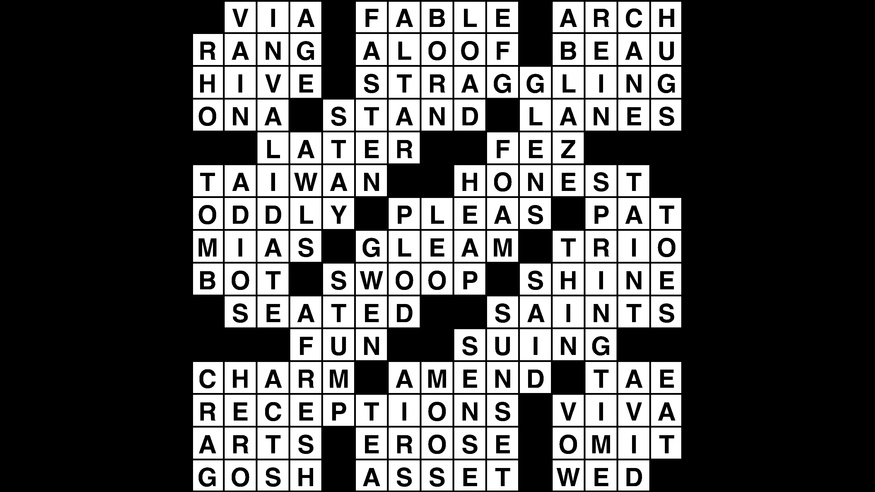 Crossword puzzle answers: October 12, 2018