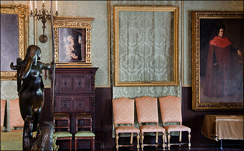 An empty frame remains where The Storm on the Sea of Galilee was once displayed. Picture provided by the FBI showing the empty frames for missing paintings after the theft at the Isabella Stewart Gardner Museum.