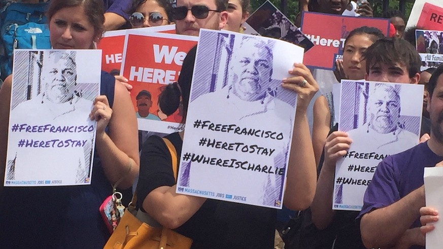 """Many at the rally held signs, like these showing Francisco's face and with the phrase """"#FreeFrancisco."""" Photo: Kristin Toussaint / Metro"""