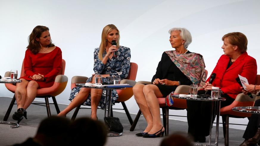 Ivanka Trump defends father at German women's summit