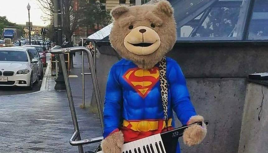 keytar bear robbed, keytar bear, keytar bear attacked, boston keytar bear