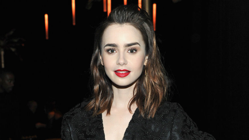 Lily Collins in Black