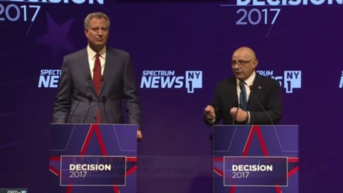 Incumbent Bill de Blasio faced Sal Albanese in the first Democratic mayoral debate.