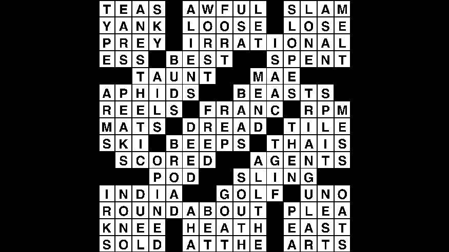 Crossword puzzle answers: October 2, 2018