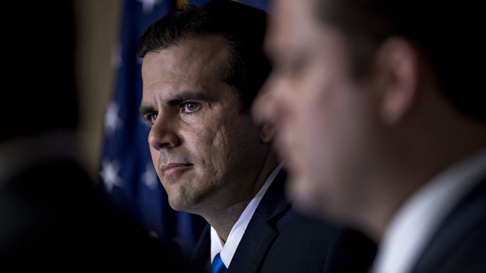 Ricardo Rossello, governor of Puerto Rico, listens during a news conference at the National Press Club in Washington, D.C., U.S