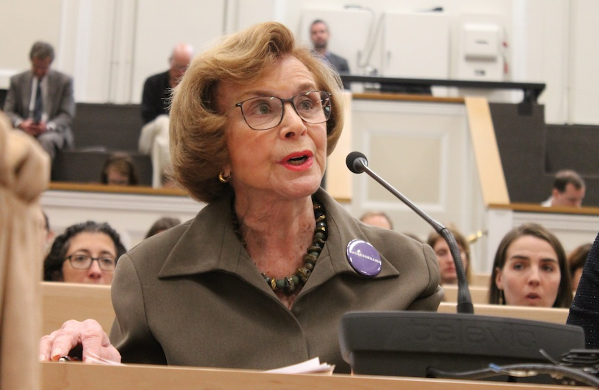 """Sen. Harriette Chandler told lawmakers Tuesday her bill """"ensures that no changes at the federal level"""" could impact women's contraceptive access in Massachusetts. [Photo: Sam Doran/SHNS"""
