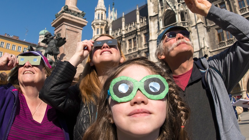 You'll neeed special viewing glasses for the eclipse. Credit: Getty Images