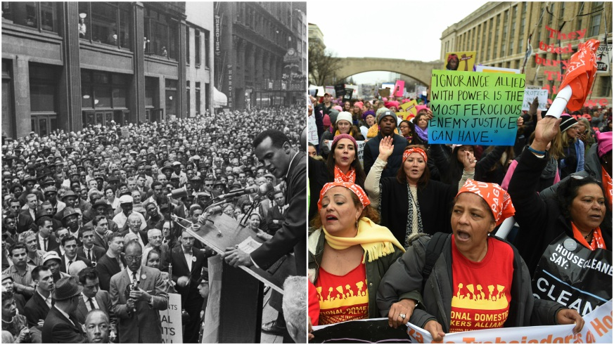 The '60s shows us how our current historical moment began in half a century ago. At left, Harry Belafonte addresses a crowd of 10,000 civil rights marchers in 1960. At right, participants in the Women's March in 2017. Credit: Bettman, The Washington Post