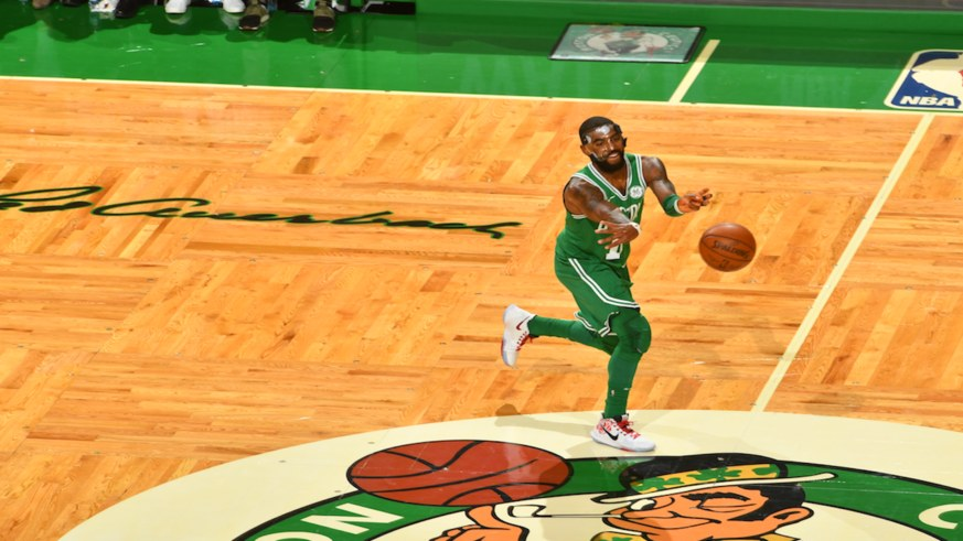 What is cursive signature writing on Celtics court at TD Garden